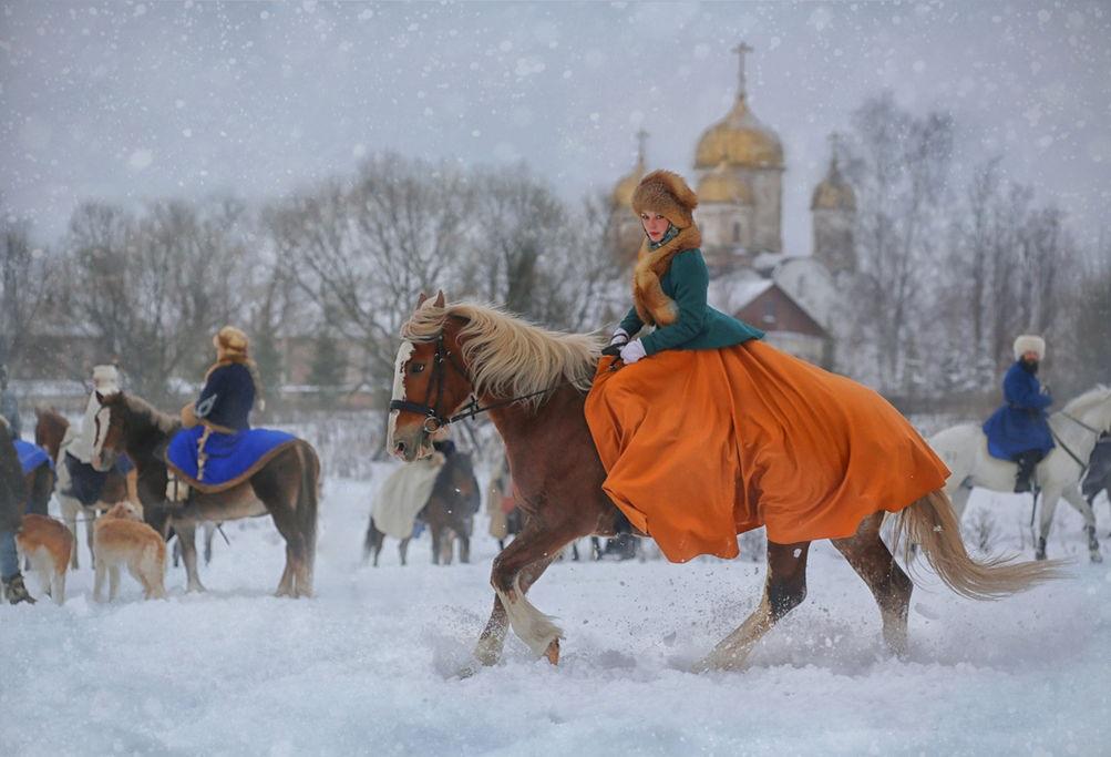 Царская конная охота в Петергофе